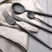 Long Handle Silver Stainless Steel tableware Set Luxury Cutlery Set Matte Knife Fork Snacks Table Dinnerware