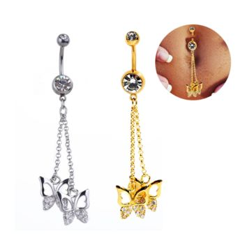 Fashion hollow out butterfly shaped zircon belly button ring antiallergic Navel Belly Ring-0428-Gifts box