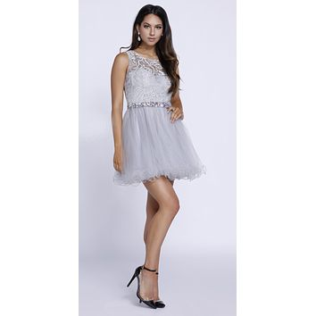 Cut Out Back Applique Bodice Sleeveless Homecoming Dress Silver
