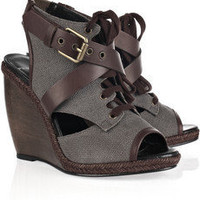 Pierre Hardy Canvas and leather wedge sandals - 65% Off Now at THE OUTNET