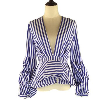 Puff Sleeve Blue White Stripe Blouse Shirts Ruffles Trim Women Sexy V Neck Summer Fashion Tops