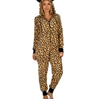 Promo-leopard Print Hooded Onesuit