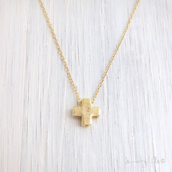 Petite Cross Necklace - 14k Gold Filled Necklace, Dainty Gold Necklace, Delicate Necklace, Simple Jewelry