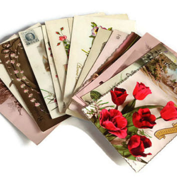 Mixed Lot of 14 Vintage Postcards . Vintage Postcard Lot . Antique Flower and Cottages Postcards .