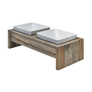 Artisan Rubberwood Double Elevated Dog Bowl Feeder — Fossil
