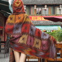 Fringe Boho Cape, Aztec Hooded Poncho - Brown