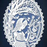 Alice in Wonderland - Papercut Illustration - 8x10 Print - Cheshire Cat in Tulgey Wood - Blue and White