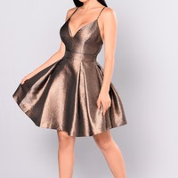 Steal The Show Metallic Dress - Bronze