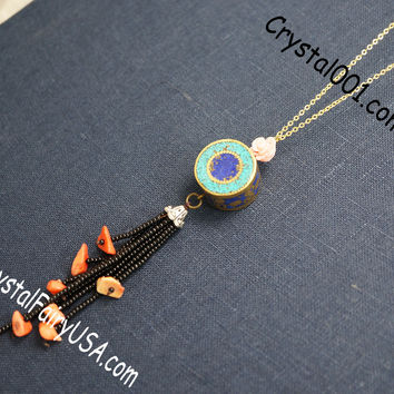Long Chain  Lapis Turquoise Drum Coral Tassel Necklace