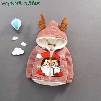 Winter Infant Baby Girls Christmas Santa Claus Reindeer Hooded Jacket Kids Outerwear Coat Thick Fleece Snow Wear Parkas Casaco