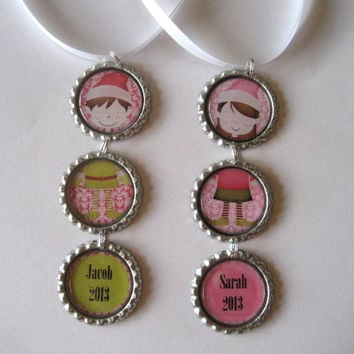 Personalilzed Boy Or Girl Elf Flattened Bottle Cap Holiday Ornament