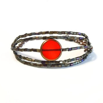 Red Beaded Copper Bracelet, Indian Beaded Stocking Cuff, Red and Copper Glass Beaded