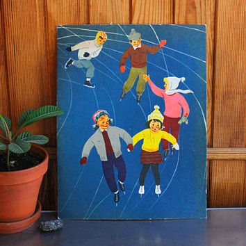 ICE SKATING - 1960's Soviet Print / Original USSR Vintage Kindegarden Chart, Mid Century Print on Cardboard, Children Skating Nursery Poster