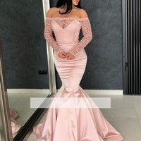 Evening Dress Pink Off The Shoulder Prom Dress Glitter Long Sleeves