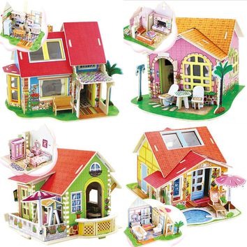 3D Wooden Puzzles Sweet House Shape Chrismas Gift for Children DIY Wood Dream Villa Child juguetes Educational Board Games Toys