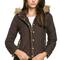 Quilted Padded Puffer Jacket with Faux Fur Hoodie Brown