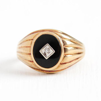 Vintage Onyx Ring - 10k Rosy Yellow Gold Black Gemstone & Diamond - Mid Century 1940s Size 11 Men's Women's Statement Jewelry , Baden Foss