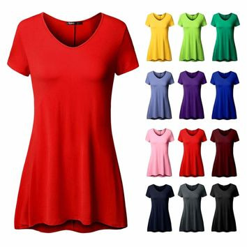 Long Tunic Shirts Loose Fit Short Sleeve Flare Tops Plus Size