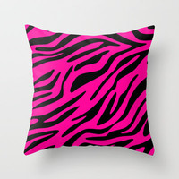 Neon Pink Zebra Throw Pillow by M Studio