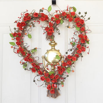 Valentines Heart  wreath -  red roses - Valentines Day front door decor - year round decoration