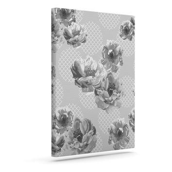 "Pellerina Design ""Lace Peony in Gray"" Grey Floral Outdoor Canvas Wall Art"