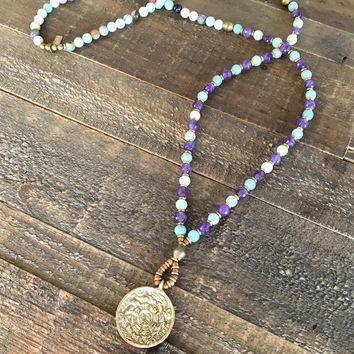 """Communication and Healing"" Throat Chakra Mala Necklace, Amazonite and Amethyst"