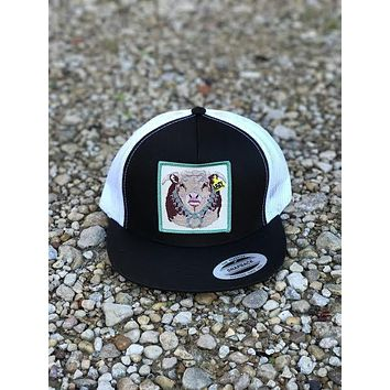 "Lazy J Ranch Wear Black and White Hereford Bull and Squash Blossom Patch Cap (4"")"