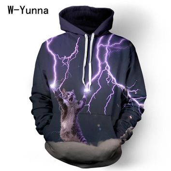 2015 newest collection 3D print plus size XL Lightning Cat hoodies winter couple hooded sweatshirt high quality tracksuits mujer
