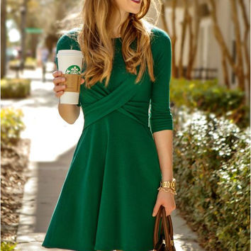 Green Half Sleeve Cross Design A-Line Dress