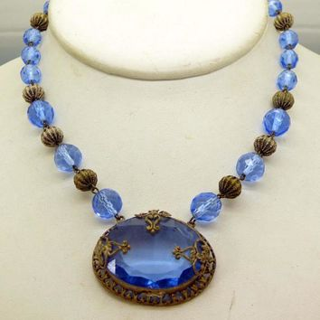 Antique Art Deco Czech Glass Open Back Blue Crystal Necklace Choker