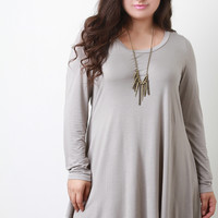 Long Sleeve Handkerchief Mini Tunic Dress