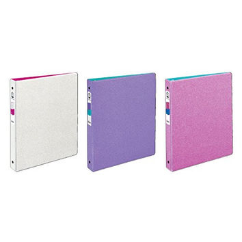 "Avery Glitter Binders with 1"" Round Rings, 175-Sheet Capacity, 3 Assorted Colors (3239)"