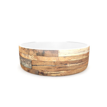 "Susan Sanders ""Campfire Wood"" Rustic Pet Bowl"