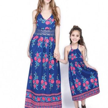 ac NOVQ2A Blue print stitching lace harness dress parent-child installation