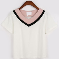 Color Block V Neck T-Shirt