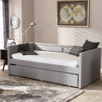 Baxton Studio Raymond Modern and Contemporary Grey Fabric Nail Heads Trimmed Sofa Twin Daybed with Roll-Out Trundle Guest Bed Set of 1