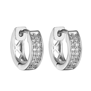 Custom Hoop Huggie Earrings Simulated Diamonds Silver Tone 16mm Mens Ladies