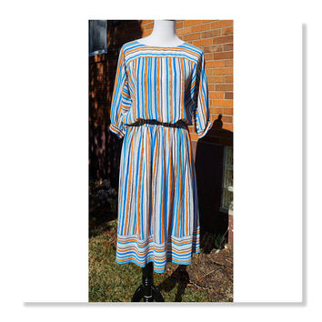 Vintage 80s Matching Set, Skirt and Blouse, Dolman Batwing sleeves, Stripes, Boatneck, Midi, Blue and Orange Dress, Campus Casuals