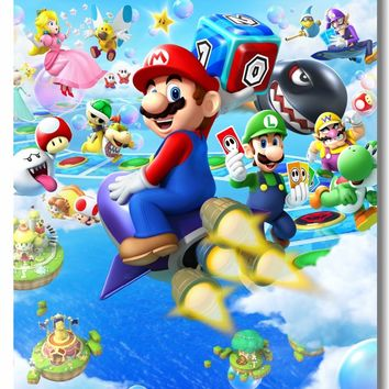 Super Mario party nes switch Custom Canvas Wall Decor  Party Island Tour Poster Super Smash Bros Wall Sticker Game Wallpaper Cafe Bar Home Decals #0490# AT_80_8