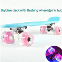 Sky Blue Skateboard with Pink LED Wheels