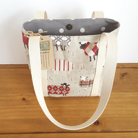 Small Tote Bag, Red and Grey Sheep Purse, Sheep Gift, Girls Bag with Small Pocket, Canvas Handmade Handbag, Grey Polka Dots, Autumn Bag