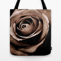 Sepia Rose Tote Bag, Dark Flower Tote Bag, Floral Tote bag, Messenger, Handbag, Trendy Beach Bag