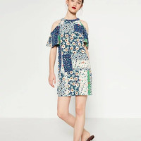 Multicolor Short Sleeve Cold Shoulder Print Dress [6259683716]