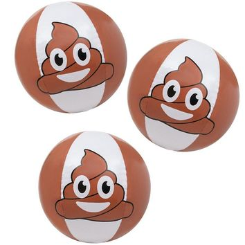 3 Pack Of Poop Inflatable Beach Ball - 16 Inch Beach Ball For The Pool Beach Or As A Party Favor