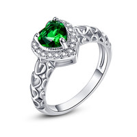 Nature Women Jewelry Love Wedding Heart Cut Green Emerald with AAA White CZ 14K White Gold Plated Ring Size 6 7 8 9 10