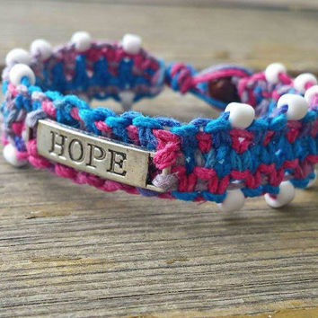 Hope Bracelet, Motivating, Hemp Bracelet, Beaded Macrame Jewelry, Hemp Cuff