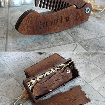 Beard Comb Folding Personalized Wooden Gift For Dad Him Gifts