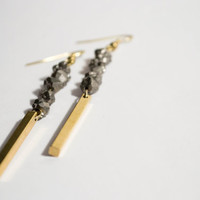 Raw Brass Sticks Dangle Silver Titanium Druzy Nugget Earrings