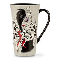 Disney Store Cruella De Vil 101 Dalmatians Coffee Mug Cup White Red Black 2014