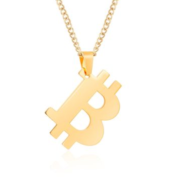 Bitcoin Necklace with 20 Inch Chain Rust-Free Stainless Steel Gold Plated Pendant Jewelry for Men and Women - Unique Psychical Collectible Digital Currency Fashion | Gift Pouch + 1 FREE Coin Included